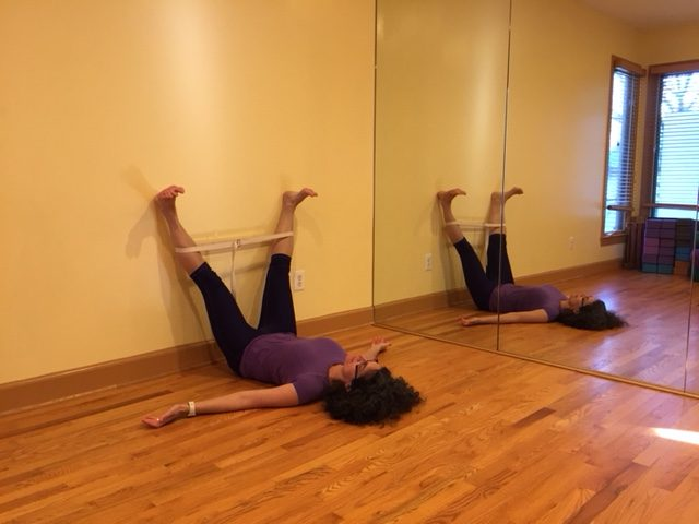 Restorative Yoga Pose Supta Upavista Kanasana - Reclining Wide Angle Pose, Legs Up the Wall